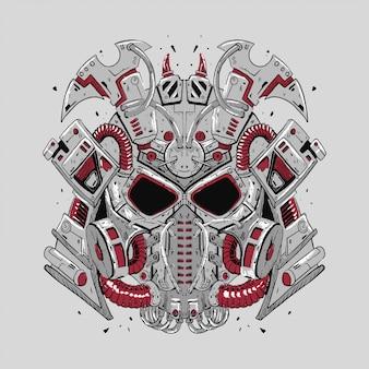 Samurai robot vector illustration for t-shirt design