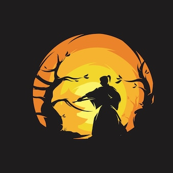The samurai ronin logo design