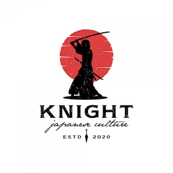 Samurai silhouette with red moon logo