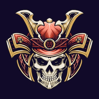 Samurai skull head illustration design