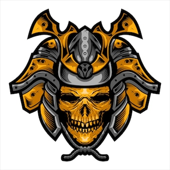 Samurai skull head traditional japanese legend