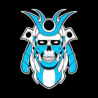 Samurai skull mecha illustration