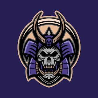 Samurai skull vector emblem illustration