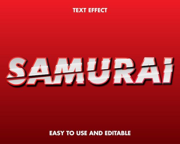 사무라이 텍스트 효과. 편집 가능한 글꼴 스타일.