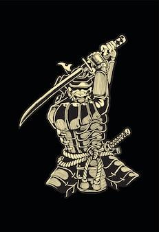 Самурай, японский фехтовальщик использует свой меч для борьбы