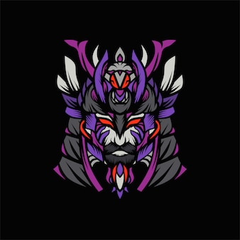 Samurai viking head vector