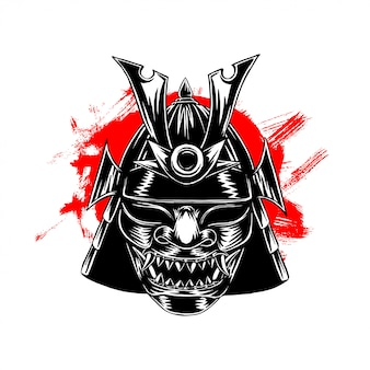 Samurai war mask illustration