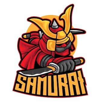 Samurai warrior esport logo isolated on white