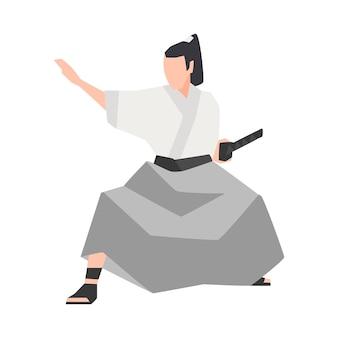 白い背景で隔離の侍の戦士。着物を着て、戦いの姿勢で立ち、刀を持った勇敢な日本の騎士。ロゴタイプのフラット漫画スタイルの色付きベクトルイラスト。