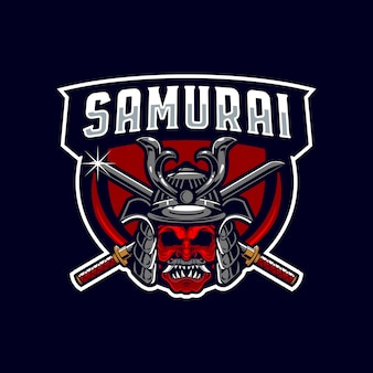 Самурай воин талисман логотип