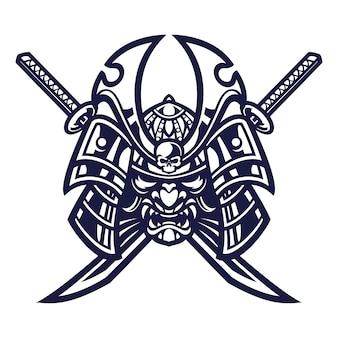 Samurai warrior mask  illustration