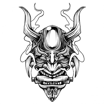 Samurai warrior mask. traditional armor of japanese warrior.