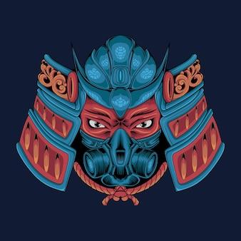 ガスマスクのイラストと侍の戦士