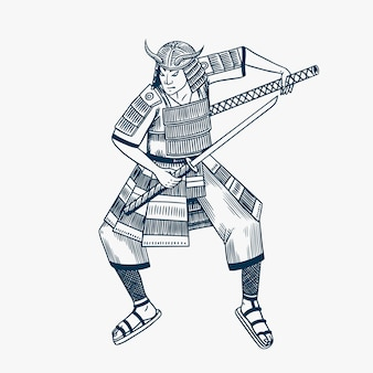 Samurai warriors with weapons sketch