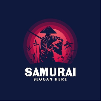 Samurai wearing hats logo design template