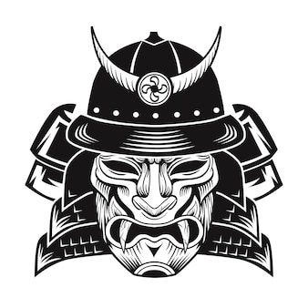 Samurai with black mask. japanese fighter flat image.  vintage vector illustration