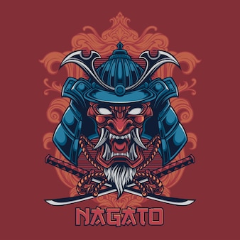 Samurai with katana design for tshirt premium vector illustration