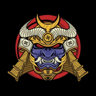 Samurai with oni mask illustration