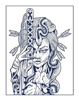 Samurai woman with sword in hand