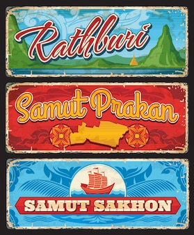 Samut sakhon, samut prakan and rathbury, vector thailand provinces signs. thailand entry sings or travel stickers and grunge luggage tags with thai landmark symbols and map