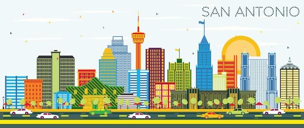 色の建物と青い空とサンアントニオテキサスのスカイライン。ベクトルイラスト。近代建築とビジネス旅行と観光の概念。ランドマークのあるサンアントニオの街並み。