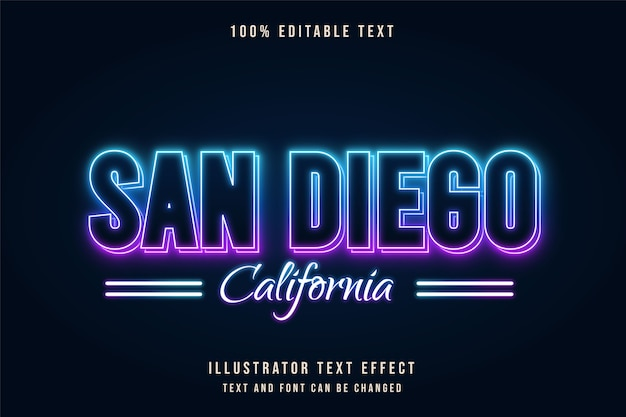 Сан-диего, калифорния, редактируемый текстовый эффект, градация синего, фиолетовый неоновый стиль текста