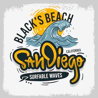 Сан-диего, калифорния, сша, сша, серфинг, дизайн для серфинга. рисованной надписи. тип логотипа. этикетка для рекламных объявлений. футболка или наклейка.