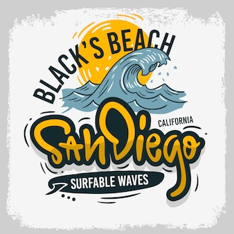 San diego california united states usa surfing surf  design  hand drawn lettering type logo sign label for promotion ads t shirt or sticker poster image