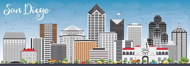 灰色の建物と青い空とサンディエゴのスカイライン。ベクトルイラスト。近代建築とビジネス旅行と観光の概念。プレゼンテーションバナープラカードとwebサイトの画像。