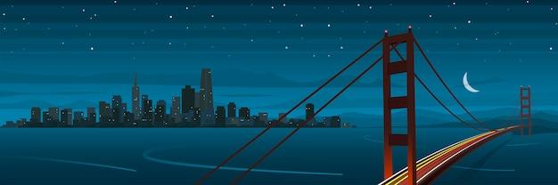夜のバナーでサンフランシスコとゴールデンゲートブリッジの風景