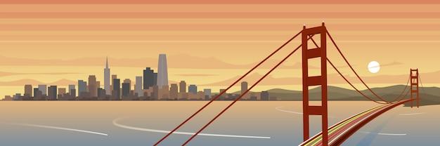 サンフランシスコとゴールデンゲートブリッジの風景バナー