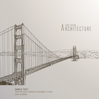 San francisco bridge hand drawn