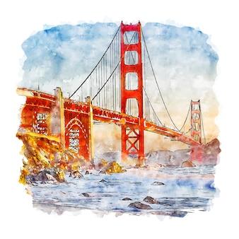 샌프란시스코 캘리포니아 수채화 스케치 프리미엄 벡터