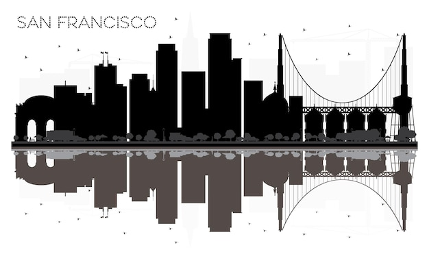 반사와 샌프란시스코 시티 스카이 라인 흑백 실루엣. 벡터 일러스트 레이 션. 관광 프레젠테이션, 배너, 현수막 또는 웹 사이트를 위한 단순한 평면 개념입니다. 랜드마크가 있는 도시 풍경.