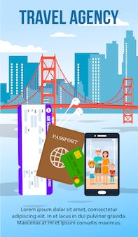 San francisco cityscape flat flyer with text space