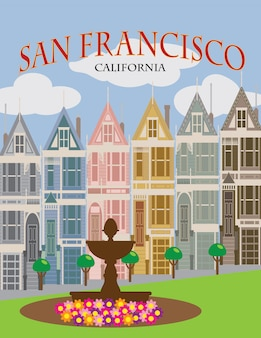 San francisco painted ladies poster vector illustration