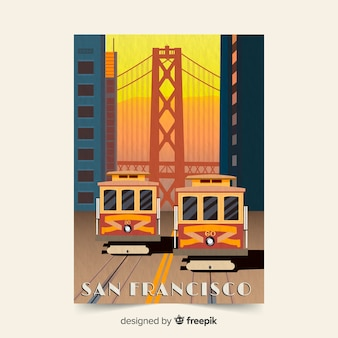 San francisco retro promotional flyer template