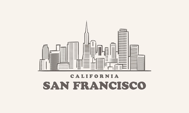サンフランシスコのスカイライン、カリフォルニアが描いたスケッチの街