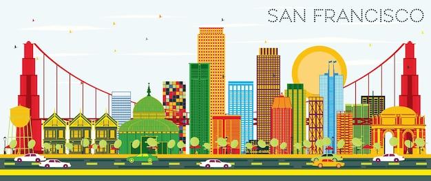 색상 건물과 푸른 하늘이 있는 샌프란시스코 스카이라인. 벡터 일러스트 레이 션. 현대적인 건물과 비즈니스 여행 및 관광 개념입니다. 프레젠테이션 배너 현수막 및 웹사이트용 이미지.