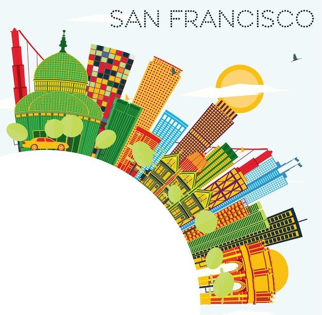 색상 건물, 푸른 하늘 및 복사 공간이 있는 샌프란시스코 스카이라인. 벡터 일러스트 레이 션. 현대적인 건물과 비즈니스 여행 및 관광 개념입니다. 프레젠테이션 배너 현수막 및 웹사이트용 이미지.