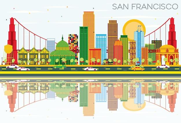 색상 건물 푸른 하늘과 반사 벡터 일러스트와 함께 샌프란시스코 스카이 라인