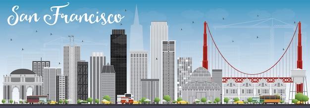 灰色の建物と青い空とサンフランシスコのスカイライン。