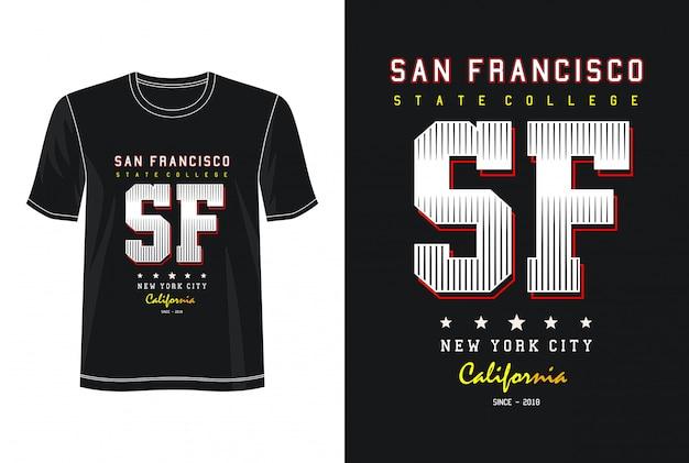 サンフランシスコタイポグラフィデザインtシャツ