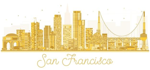 샌프란시스코 미국 도시 스카이 라인 황금 실루엣입니다. 벡터 일러스트 레이 션. 비즈니스 여행 개념입니다. 랜드마크가 있는 도시 풍경.