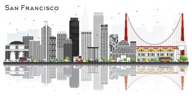 흰색 절연 회색 건물 샌프란시스코 미국 도시의 스카이 라인. 벡터 일러스트 레이 션. 현대적인 건물과 비즈니스 여행 및 관광 개념입니다. 랜드마크가 있는 샌프란시스코 도시 풍경.