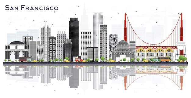 San francisco usa city skyline with gray buildings isolated on white. vector illustration. business travel and tourism concept with modern buildings. san francisco cityscape with landmarks.
