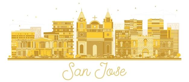 Силуэт горизонта города сан-хосе коста-рика с золотыми зданиями, изолированными на белом. векторные иллюстрации. концепция туризма с современной архитектурой. городской пейзаж сан-хосе с достопримечательностями.