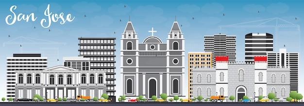 Горизонт сан-хосе с серыми зданиями и голубым небом. концепция путешествий и туризма