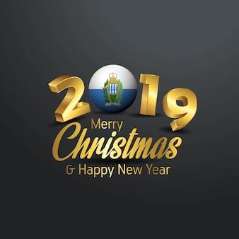 サンマリノ旗2019 merry christmas typography