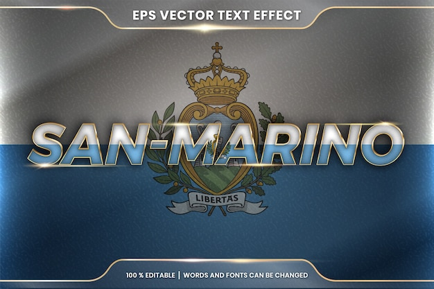 San marino with its national country flag, editable text effect style with gradient gold color concept